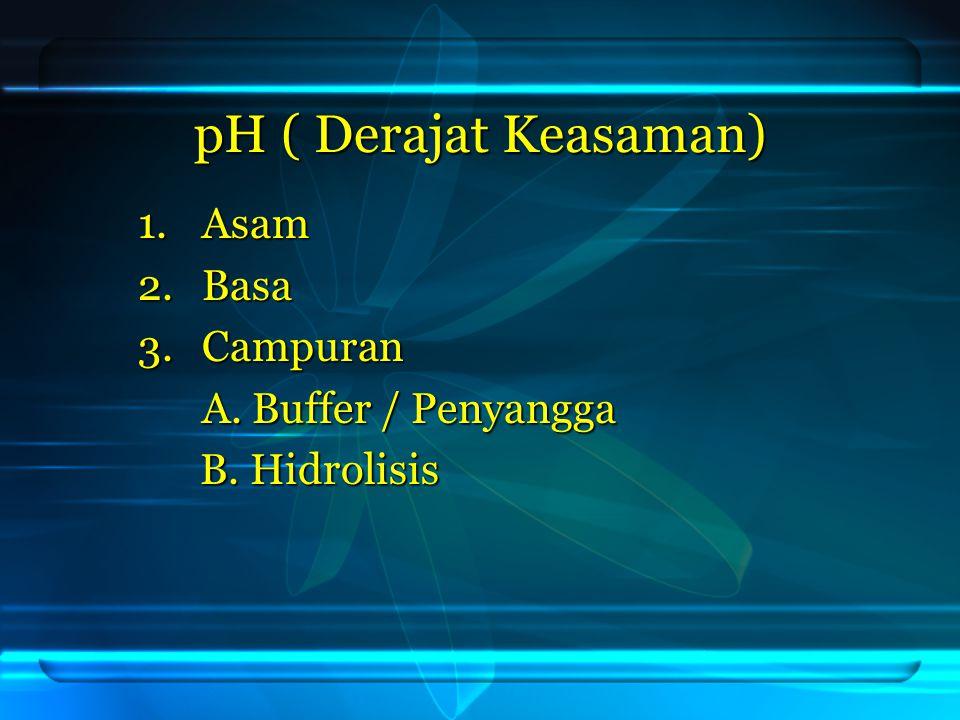 pH ( Derajat Keasaman) Asam Basa Campuran A. Buffer / Penyangga