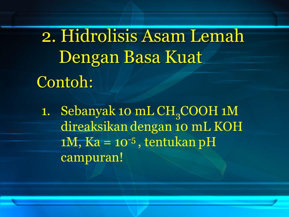 2. Hidrolisis Asam Lemah Dengan Basa Kuat
