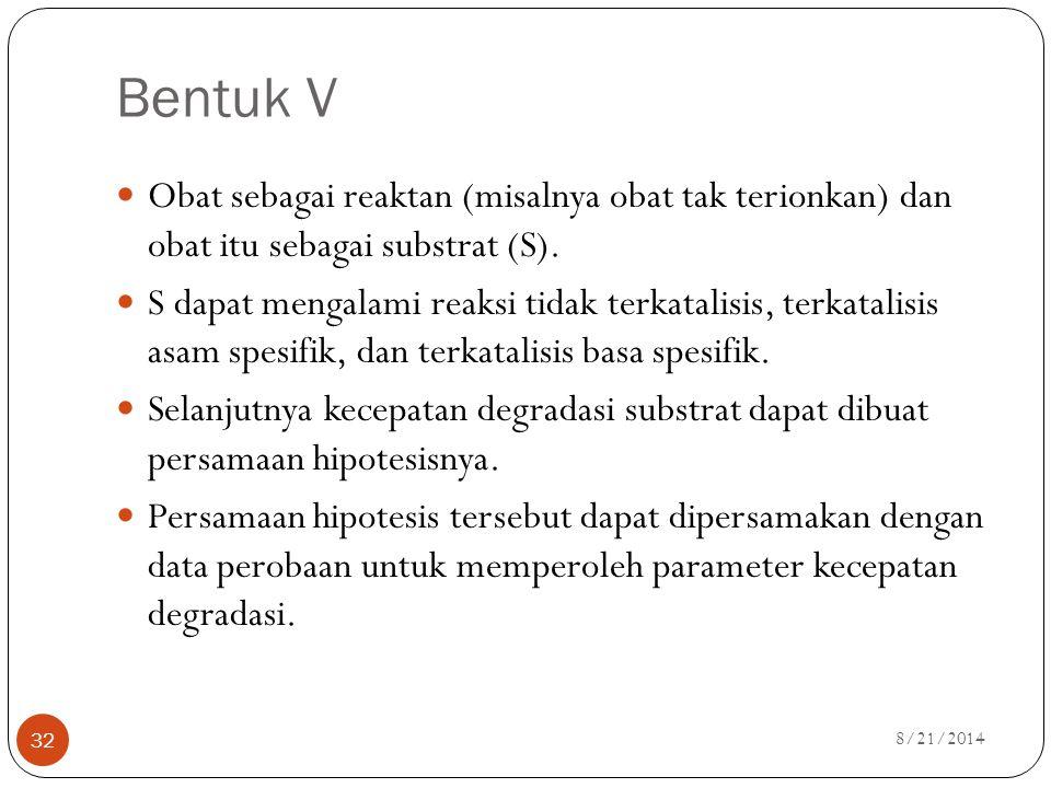 Bentuk V Obat sebagai reaktan (misalnya obat tak terionkan) dan obat itu sebagai substrat (S).