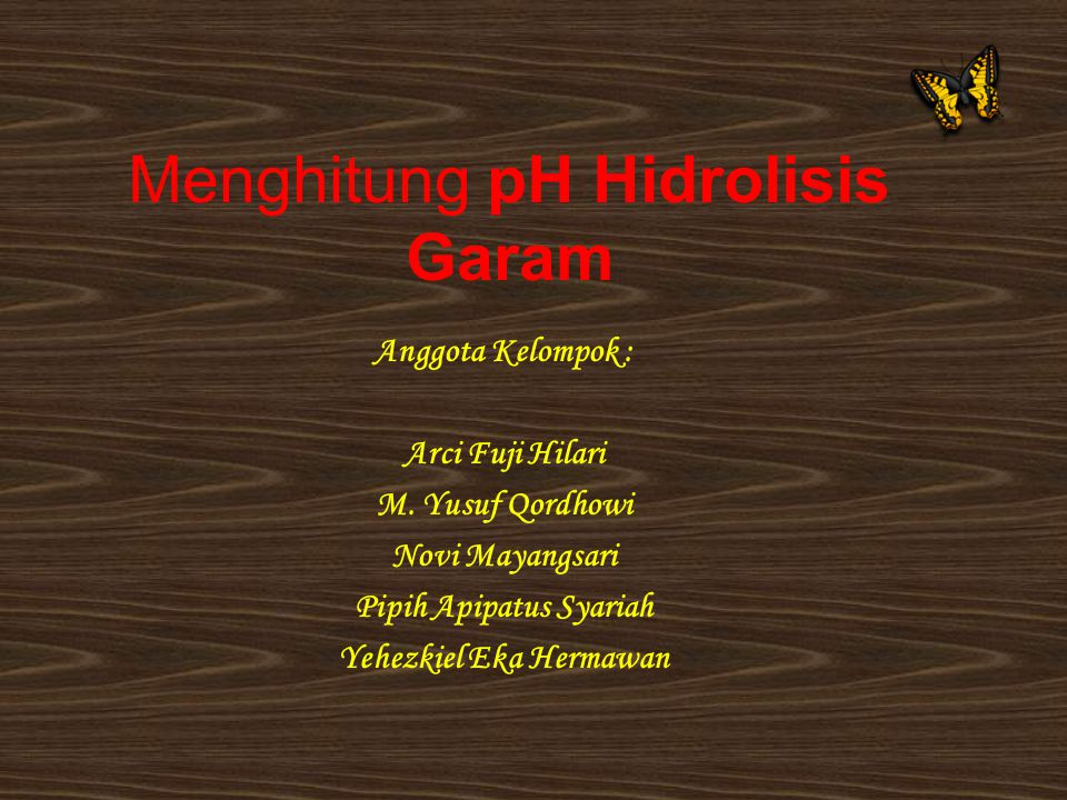 Menghitung pH Hidrolisis Garam