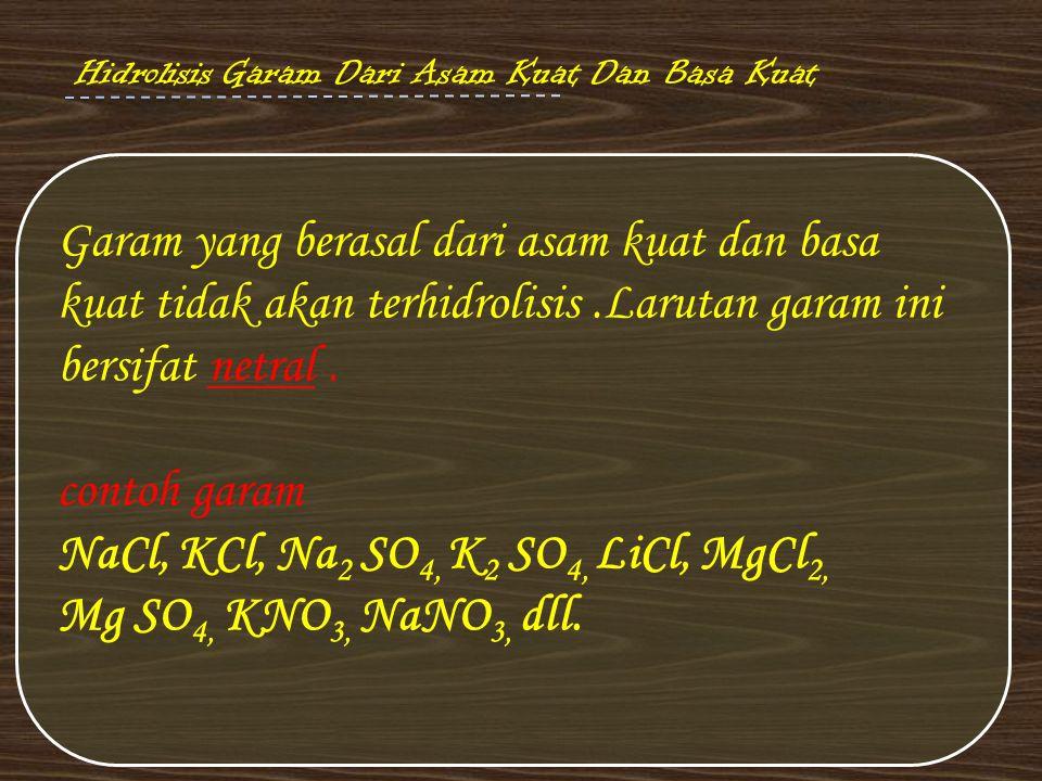 NaCl, KCl, Na2 SO4, K2 SO4, LiCl, MgCl2, Mg SO4, KNO3, NaNO3, dll.