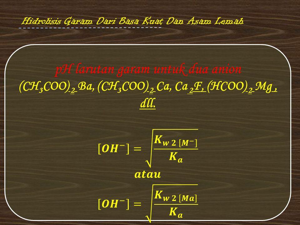 pH larutan garam untuk dua anion