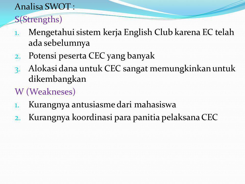 Analisa SWOT : S(Strengths) Mengetahui sistem kerja English Club karena EC telah ada sebelumnya. Potensi peserta CEC yang banyak.