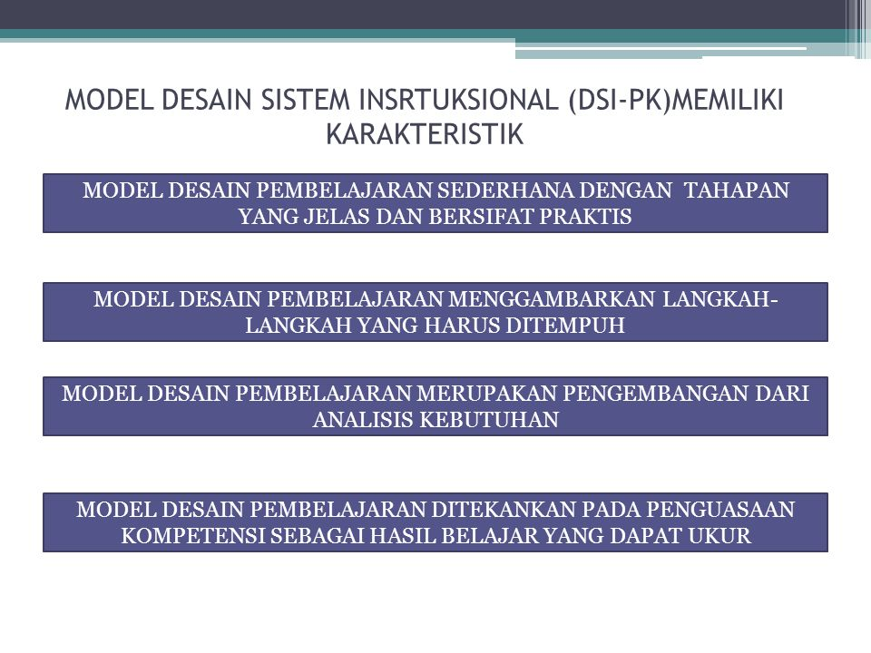 MODEL DESAIN SISTEM INSRTUKSIONAL (DSI-PK)MEMILIKI KARAKTERISTIK