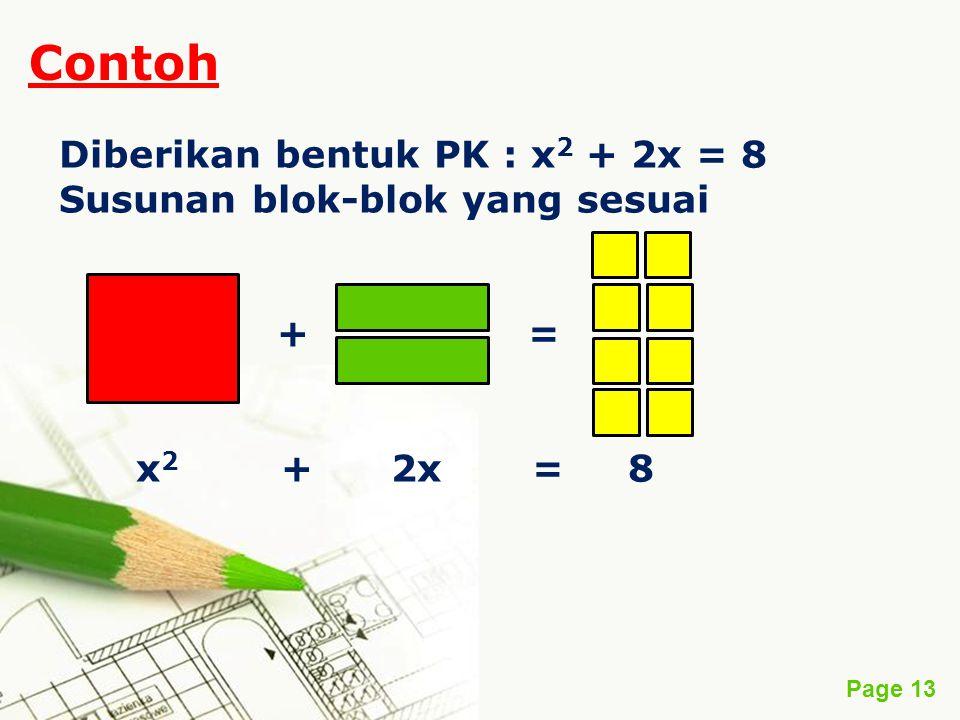 Contoh Diberikan bentuk PK : x2 + 2x = 8 Susunan blok-blok yang sesuai