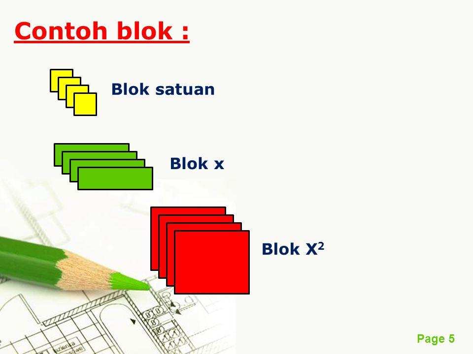 Contoh blok : Blok satuan Blok x Blok X2