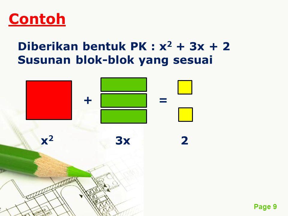 Contoh Diberikan bentuk PK : x2 + 3x + 2 Susunan blok-blok yang sesuai