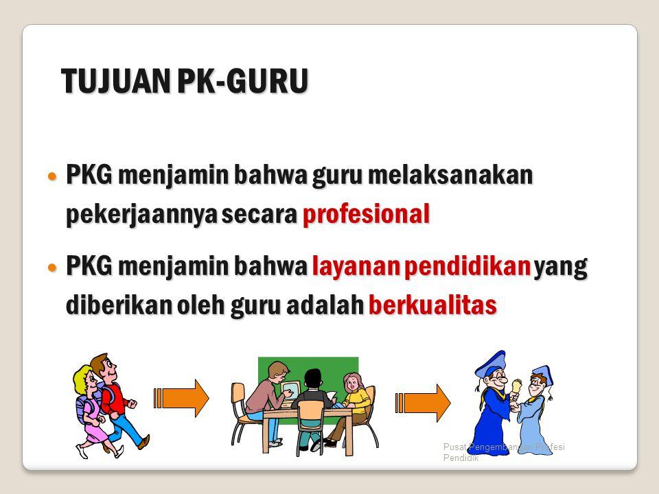 TUJUAN PK-GURU PKG menjamin bahwa guru melaksanakan pekerjaannya secara profesional.