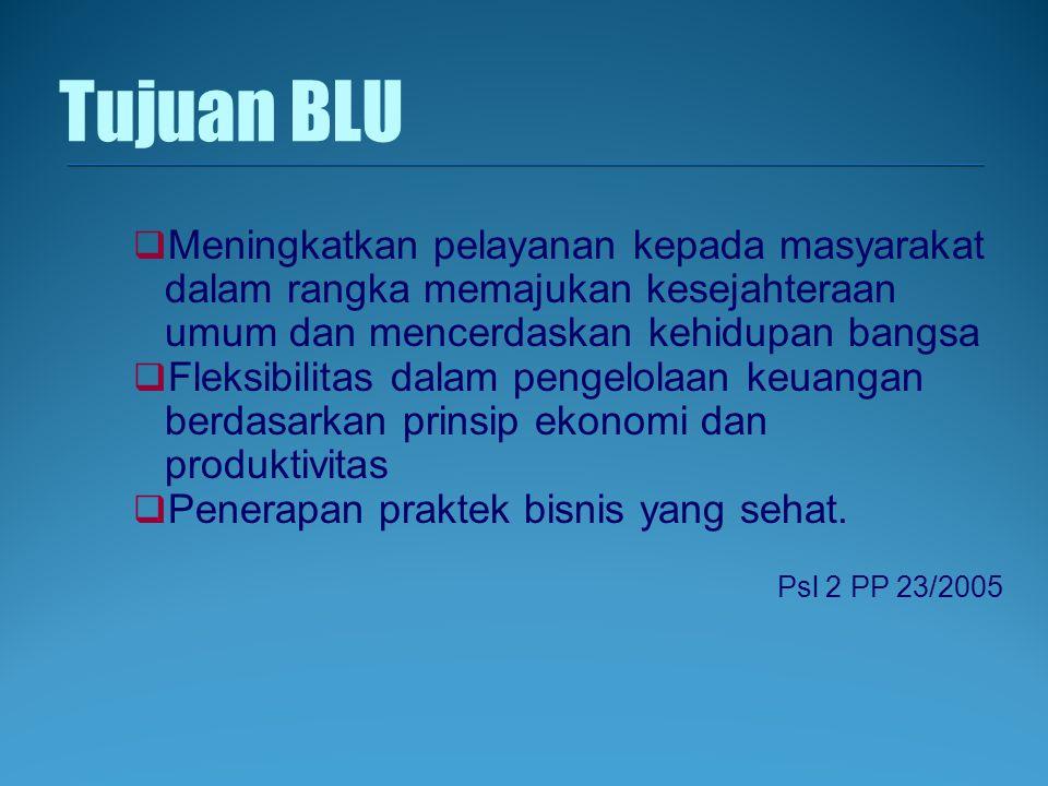 Tujuan BLU Meningkatkan pelayanan kepada masyarakat dalam rangka memajukan kesejahteraan umum dan mencerdaskan kehidupan bangsa.
