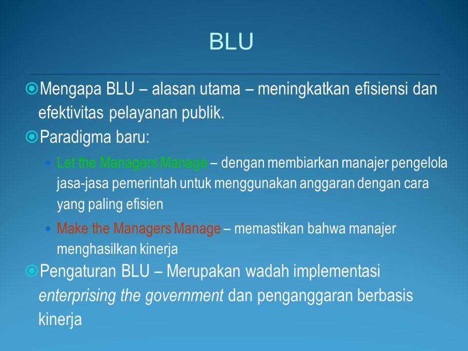 BLU Mengapa BLU – alasan utama – meningkatkan efisiensi dan efektivitas pelayanan publik. Paradigma baru: