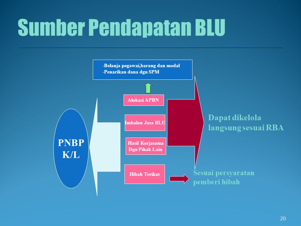 Sumber Pendapatan BLU PNBP K/L Dapat dikelola langsung sesuai RBA