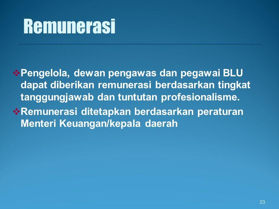 Remunerasi Pengelola, dewan pengawas dan pegawai BLU dapat diberikan remunerasi berdasarkan tingkat tanggungjawab dan tuntutan profesionalisme.