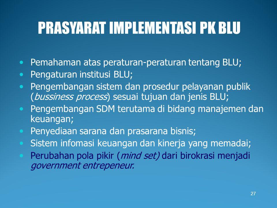 PRASYARAT IMPLEMENTASI PK BLU