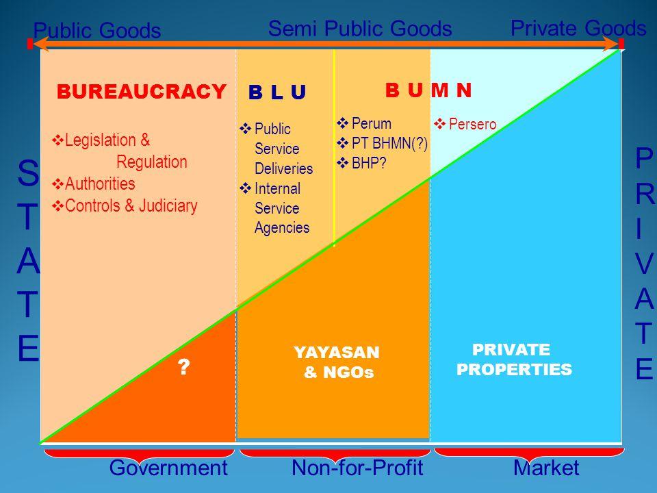S T A E P R I V A T E Public Goods Semi Public Goods Private Goods