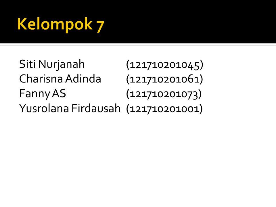 Kelompok 7 Siti Nurjanah (121710201045) Charisna Adinda (121710201061) Fanny AS (121710201073) Yusrolana Firdausah (121710201001)