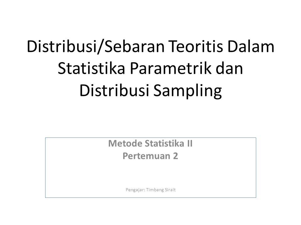 Metode Statistika II Pertemuan 2 Pengajar: Timbang Sirait