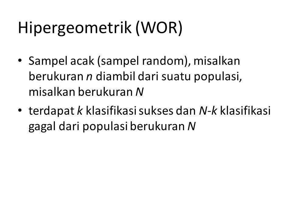 Hipergeometrik (WOR) Sampel acak (sampel random), misalkan berukuran n diambil dari suatu populasi, misalkan berukuran N.