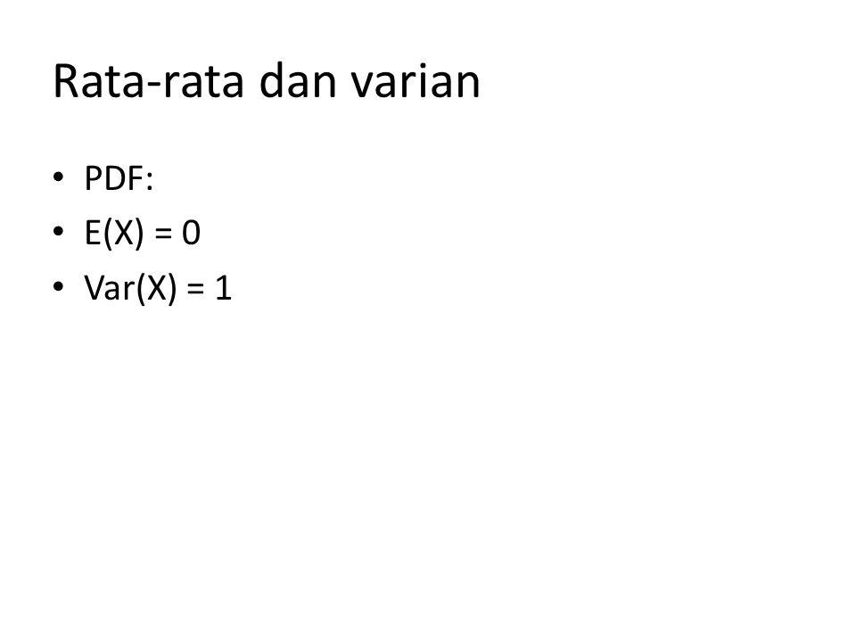 Rata-rata dan varian PDF: E(X) = 0 Var(X) = 1