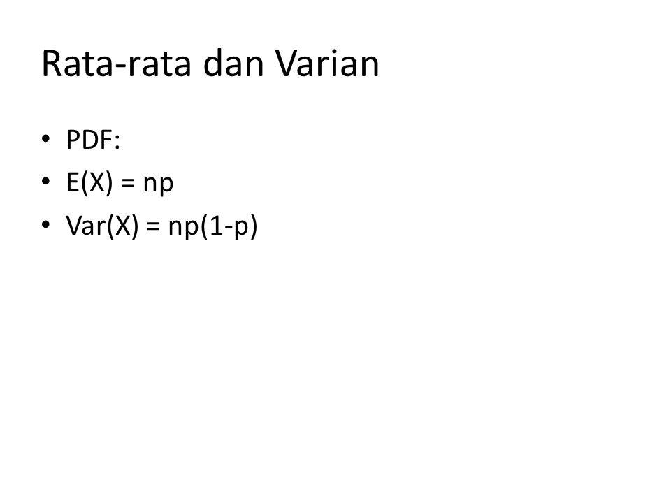 Rata-rata dan Varian PDF: E(X) = np Var(X) = np(1-p)