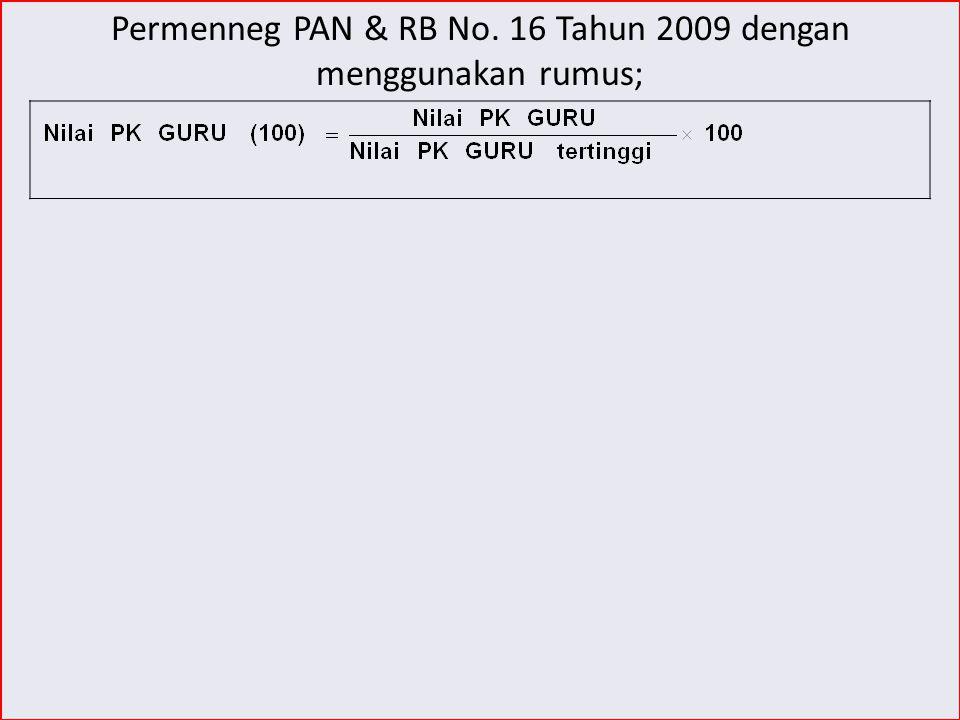 Permenneg PAN & RB No. 16 Tahun 2009 dengan menggunakan rumus;