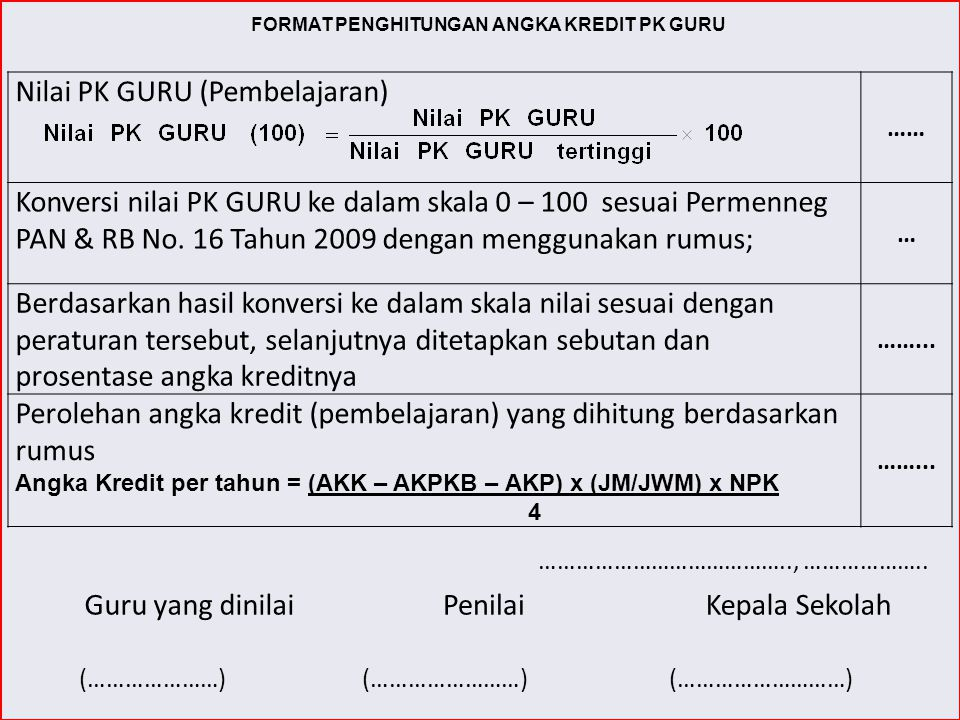 FORMAT PENGHITUNGAN ANGKA KREDIT PK GURU