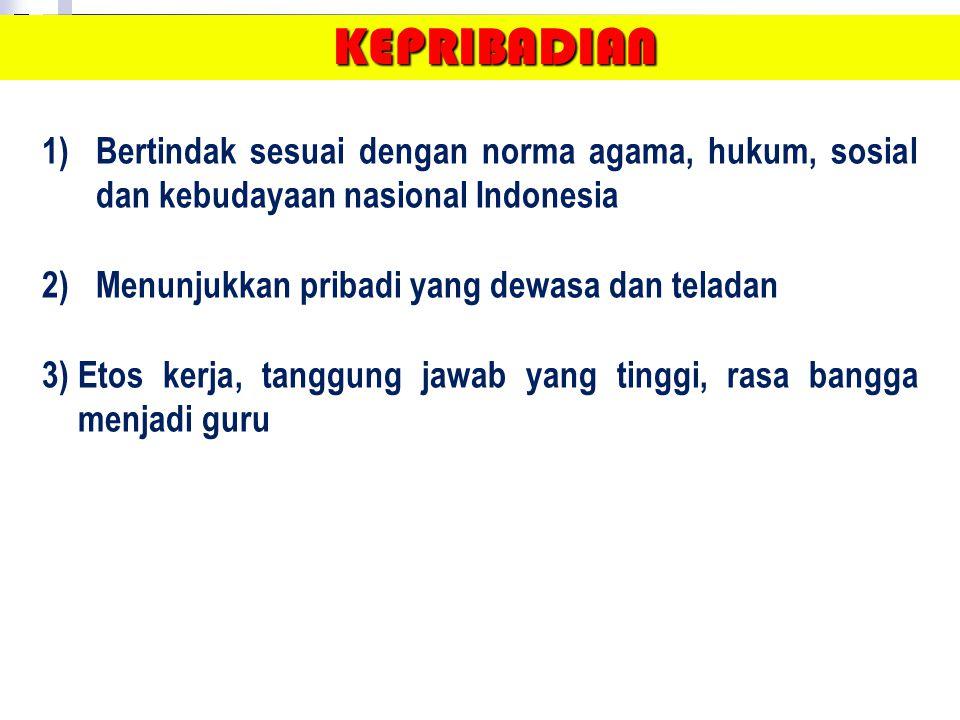 KEPRIBADIAN Bertindak sesuai dengan norma agama, hukum, sosial dan kebudayaan nasional Indonesia. Menunjukkan pribadi yang dewasa dan teladan.