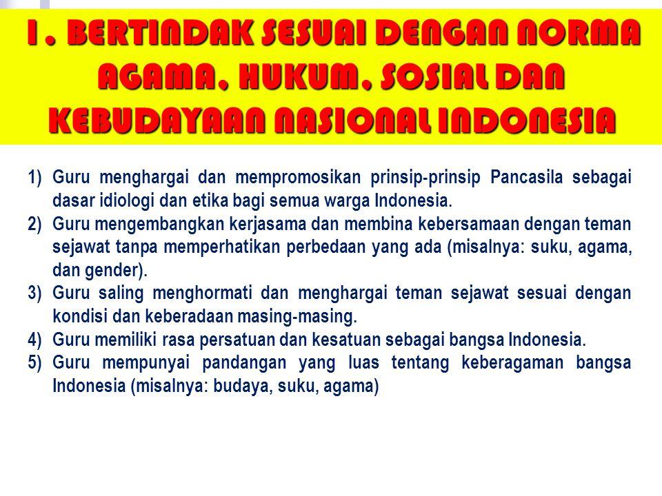 1. BERTINDAK SESUAI DENGAN NORMA AGAMA, HUKUM, SOSIAL DAN KEBUDAYAAN NASIONAL INDONESIA