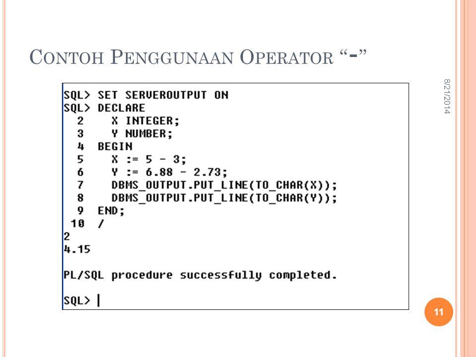 Contoh Penggunaan Operator -