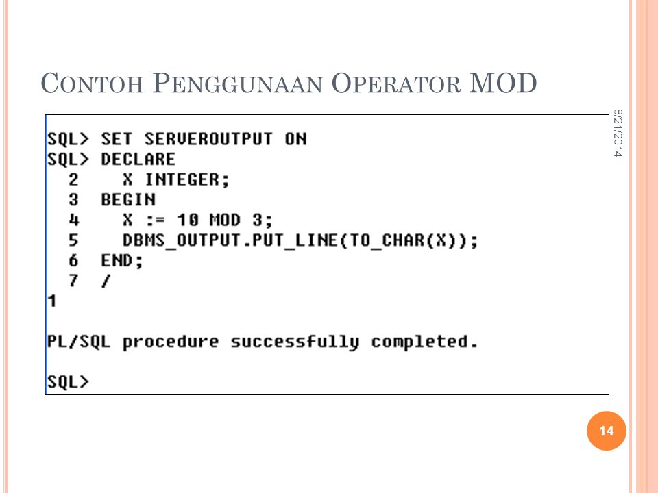 Contoh Penggunaan Operator MOD