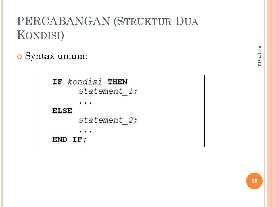 PERCABANGAN (Struktur Dua Kondisi)