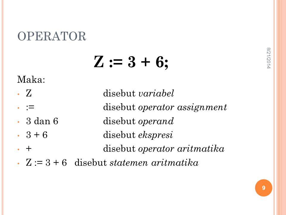 Z := 3 + 6; OPERATOR Maka: Z disebut variabel
