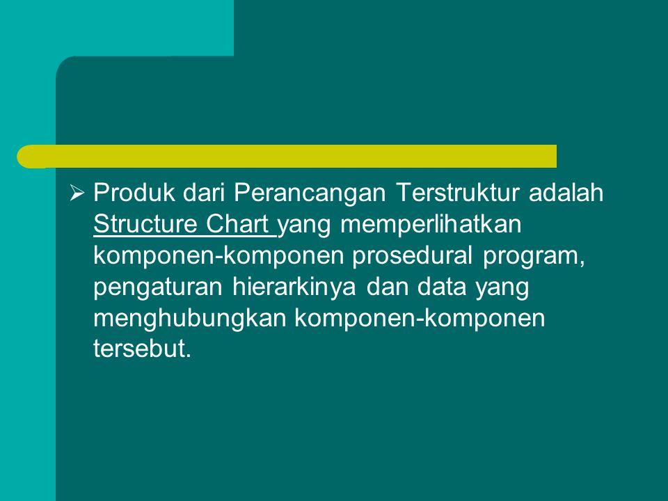 Produk dari Perancangan Terstruktur adalah Structure Chart yang memperlihatkan komponen-komponen prosedural program, pengaturan hierarkinya dan data yang menghubungkan komponen-komponen tersebut.