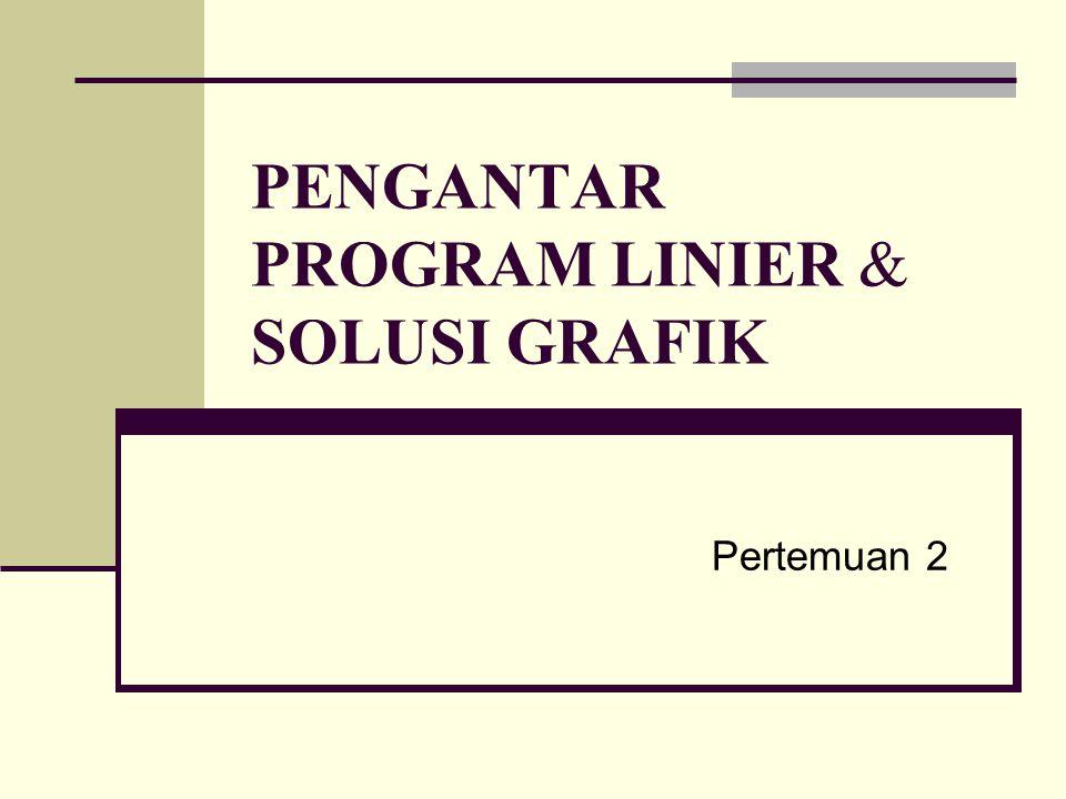 PENGANTAR PROGRAM LINIER & SOLUSI GRAFIK