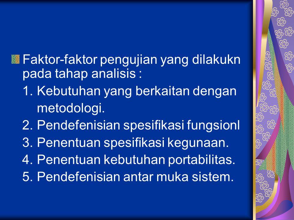 Faktor-faktor pengujian yang dilakukn pada tahap analisis :