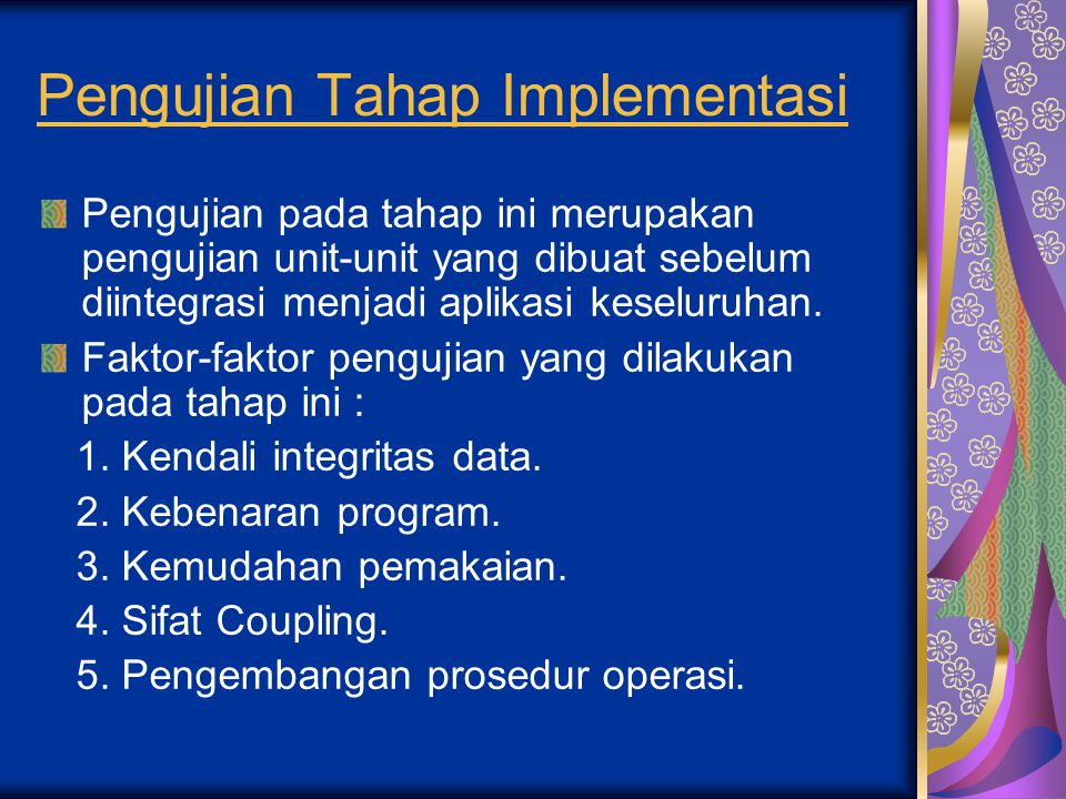 Pengujian Tahap Implementasi