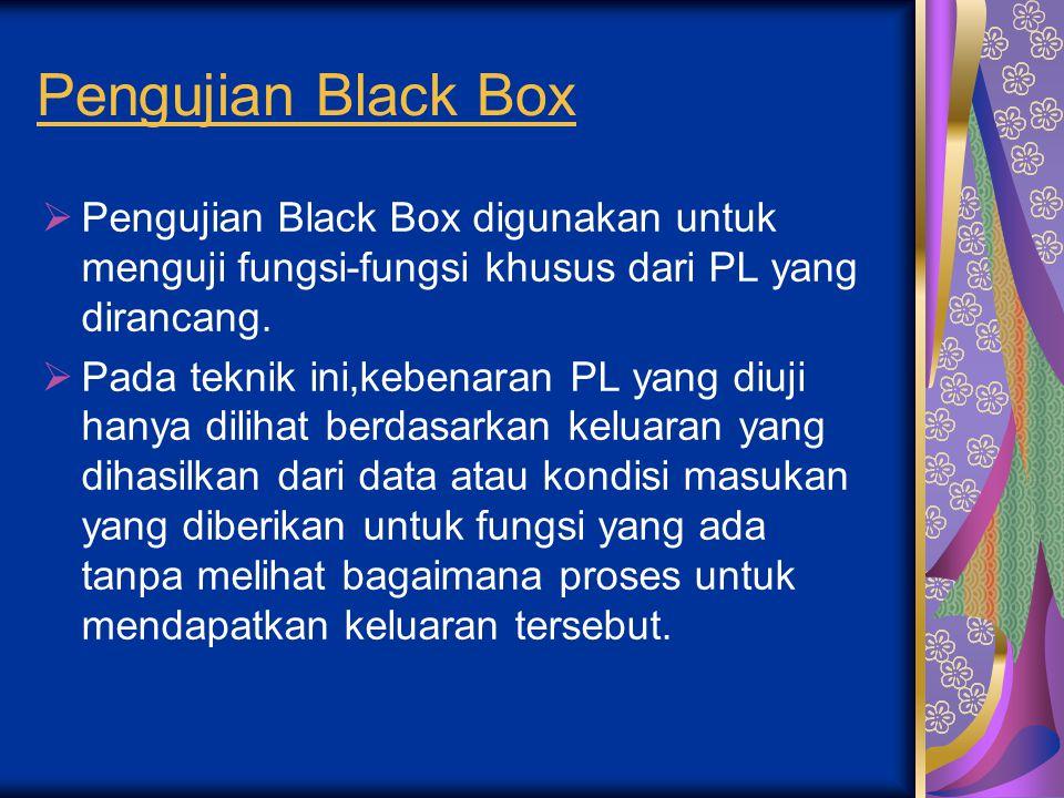 Pengujian Black Box Pengujian Black Box digunakan untuk menguji fungsi-fungsi khusus dari PL yang dirancang.