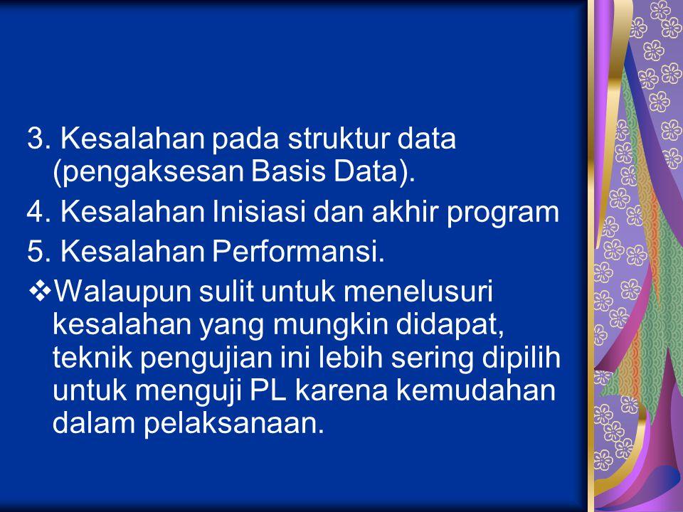 3. Kesalahan pada struktur data (pengaksesan Basis Data).