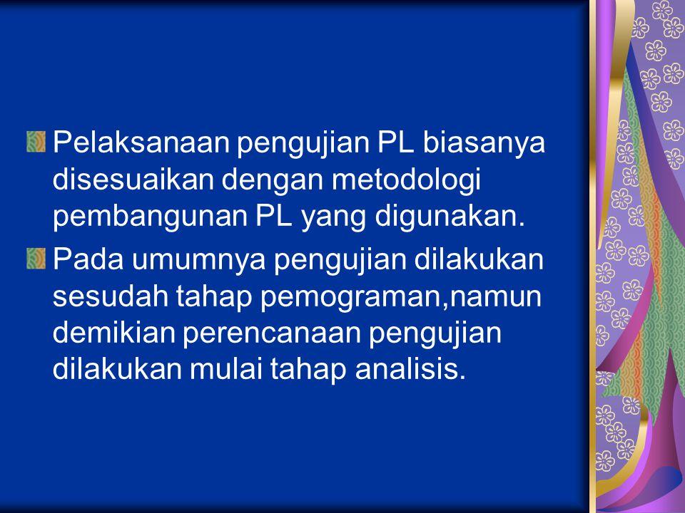 Pelaksanaan pengujian PL biasanya disesuaikan dengan metodologi pembangunan PL yang digunakan.