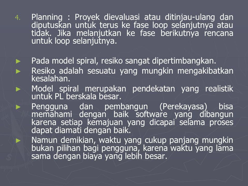 Planning : Proyek dievaluasi atau ditinjau-ulang dan diputuskan untuk terus ke fase loop selanjutnya atau tidak. Jika melanjutkan ke fase berikutnya rencana untuk loop selanjutnya.
