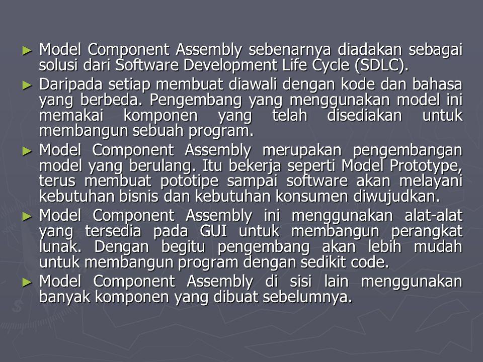 Model Component Assembly sebenarnya diadakan sebagai solusi dari Software Development Life Cycle (SDLC).
