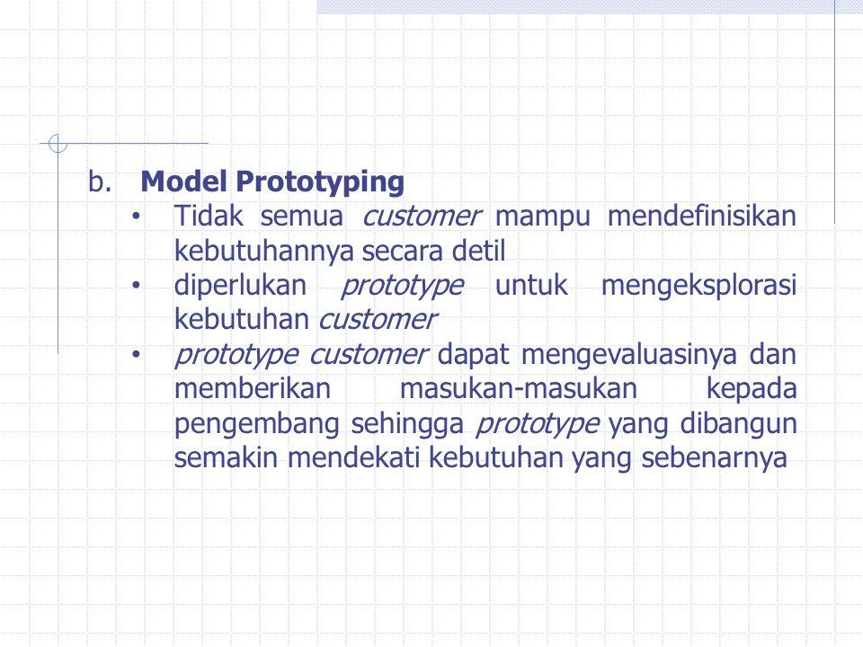 Model Prototyping Tidak semua customer mampu mendefinisikan kebutuhannya secara detil. diperlukan prototype untuk mengeksplorasi kebutuhan customer.