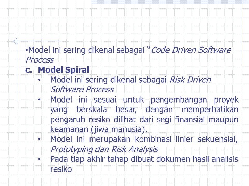 Model ini sering dikenal sebagai Code Driven Software Process