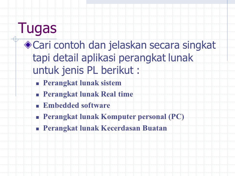 Tugas Cari contoh dan jelaskan secara singkat tapi detail aplikasi perangkat lunak untuk jenis PL berikut :
