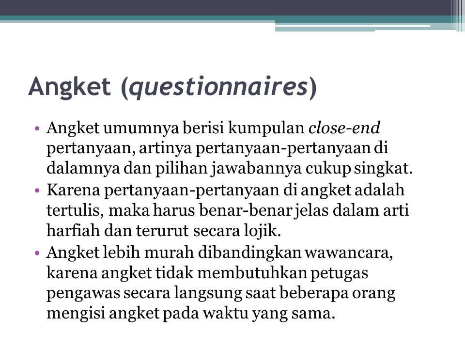 Angket (questionnaires)