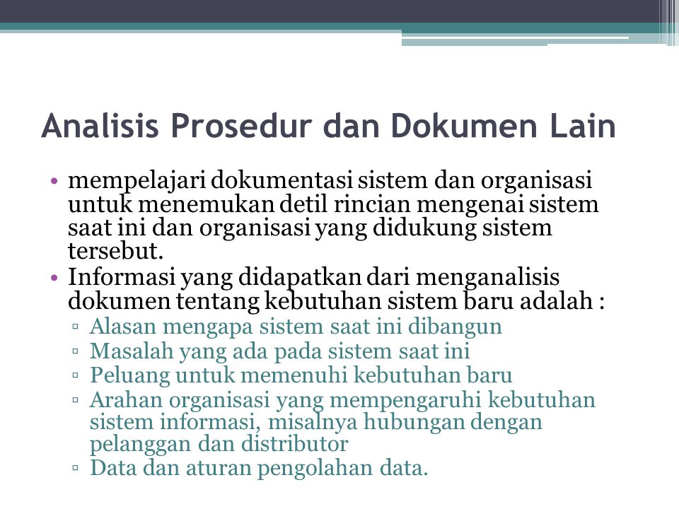 Analisis Prosedur dan Dokumen Lain