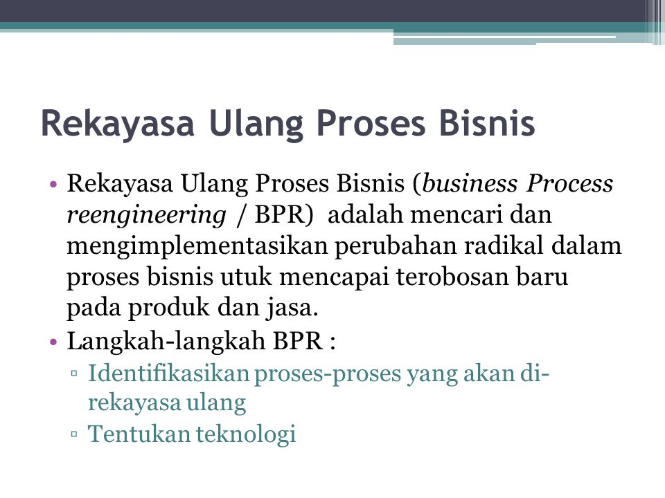 Rekayasa Ulang Proses Bisnis
