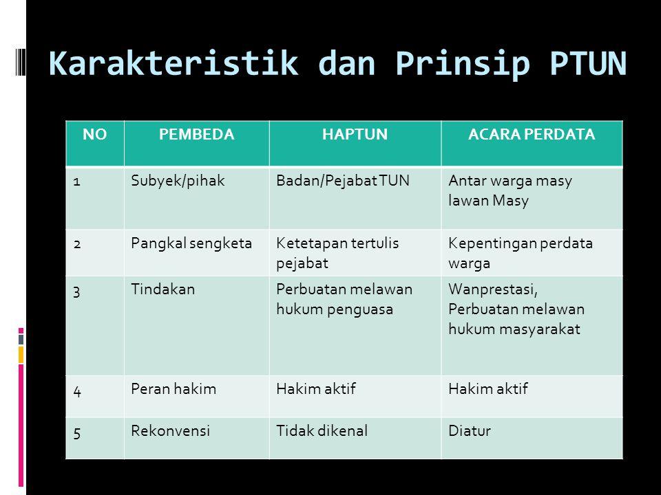 Karakteristik dan Prinsip PTUN