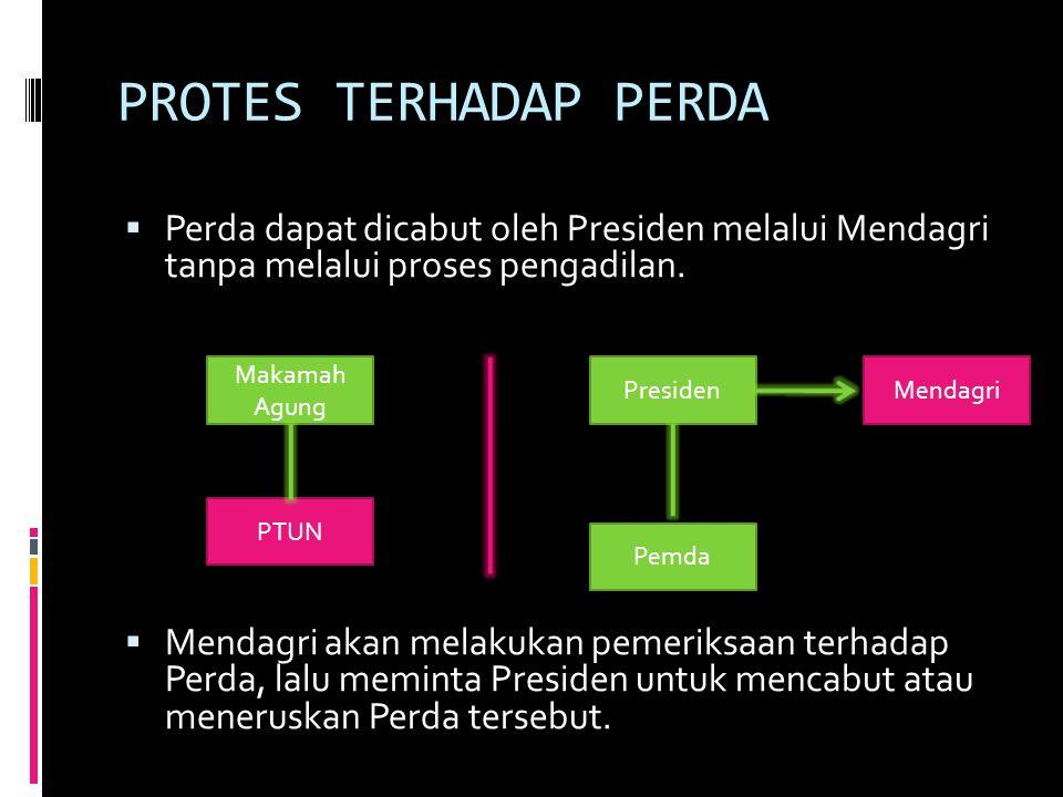 PROTES TERHADAP PERDA Perda dapat dicabut oleh Presiden melalui Mendagri tanpa melalui proses pengadilan.