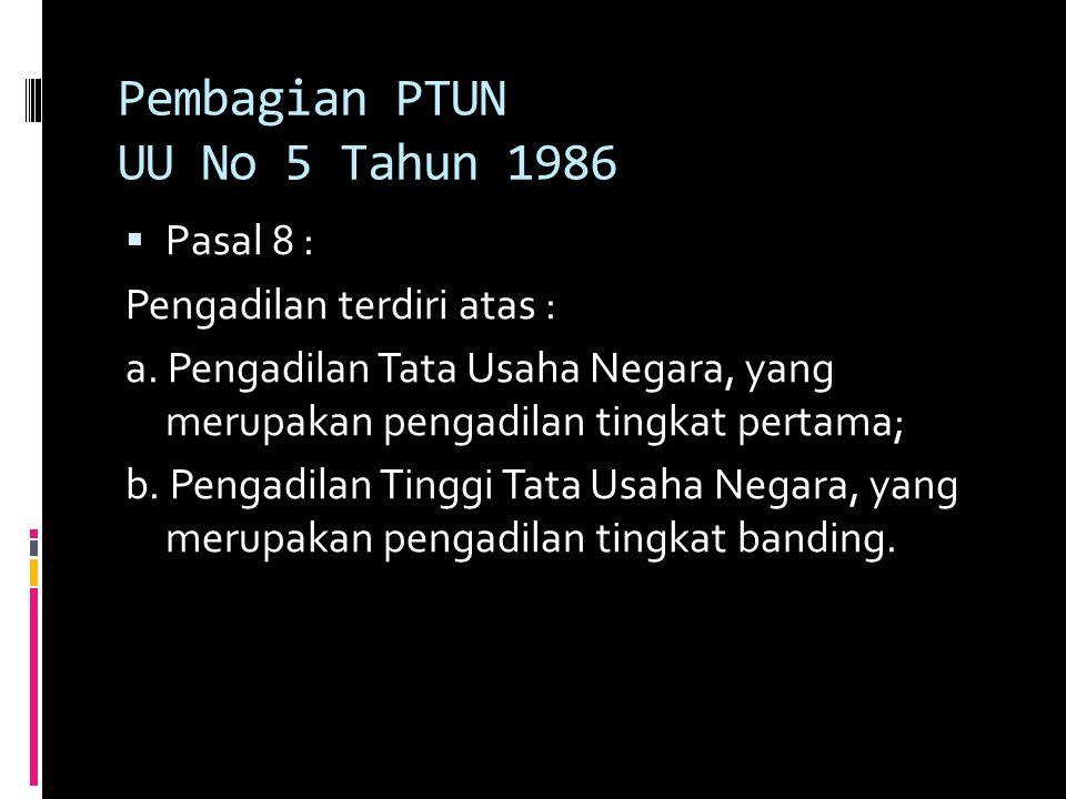 Pembagian PTUN UU No 5 Tahun 1986