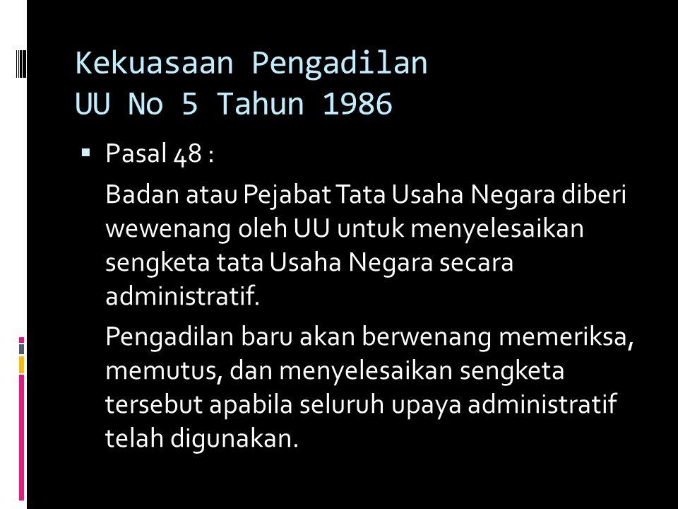 Kekuasaan Pengadilan UU No 5 Tahun 1986